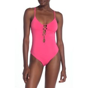 NEW Lucky Brand Pink Lace-Up One-Piece Swimsuit XL